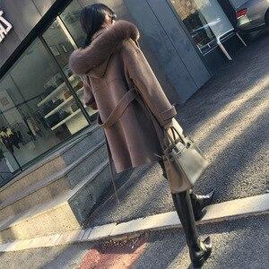 Image 5 - משרד ליידי סלעית ארוך צמר מעיל Sashes יחיד חזה צמר תערובת מעיל ומעיל רופף נשים מעילי סתיו חורף