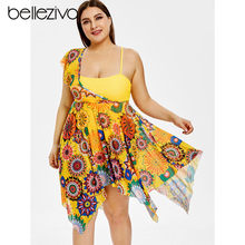 cdab07fb7e Belleziva Plus Size Tribal Floral Print Overlay Asymmetrical One Piece  Swimsuit Women Swimwear Large Bathing Suit Beach Dress