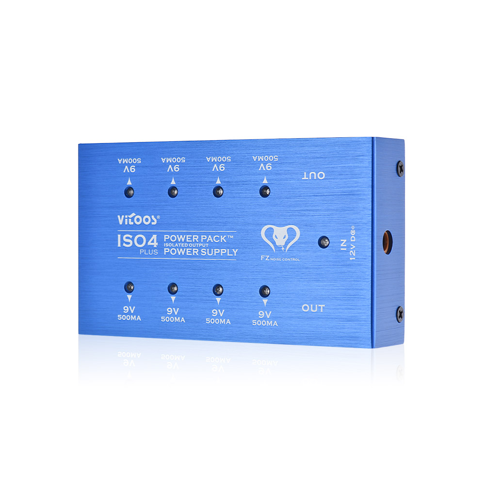 VITOOS ISO4PLUS Guitar Effects Power Supply Guitar Pedal Power Pack Station 8 Isolated DC 9V Outputs