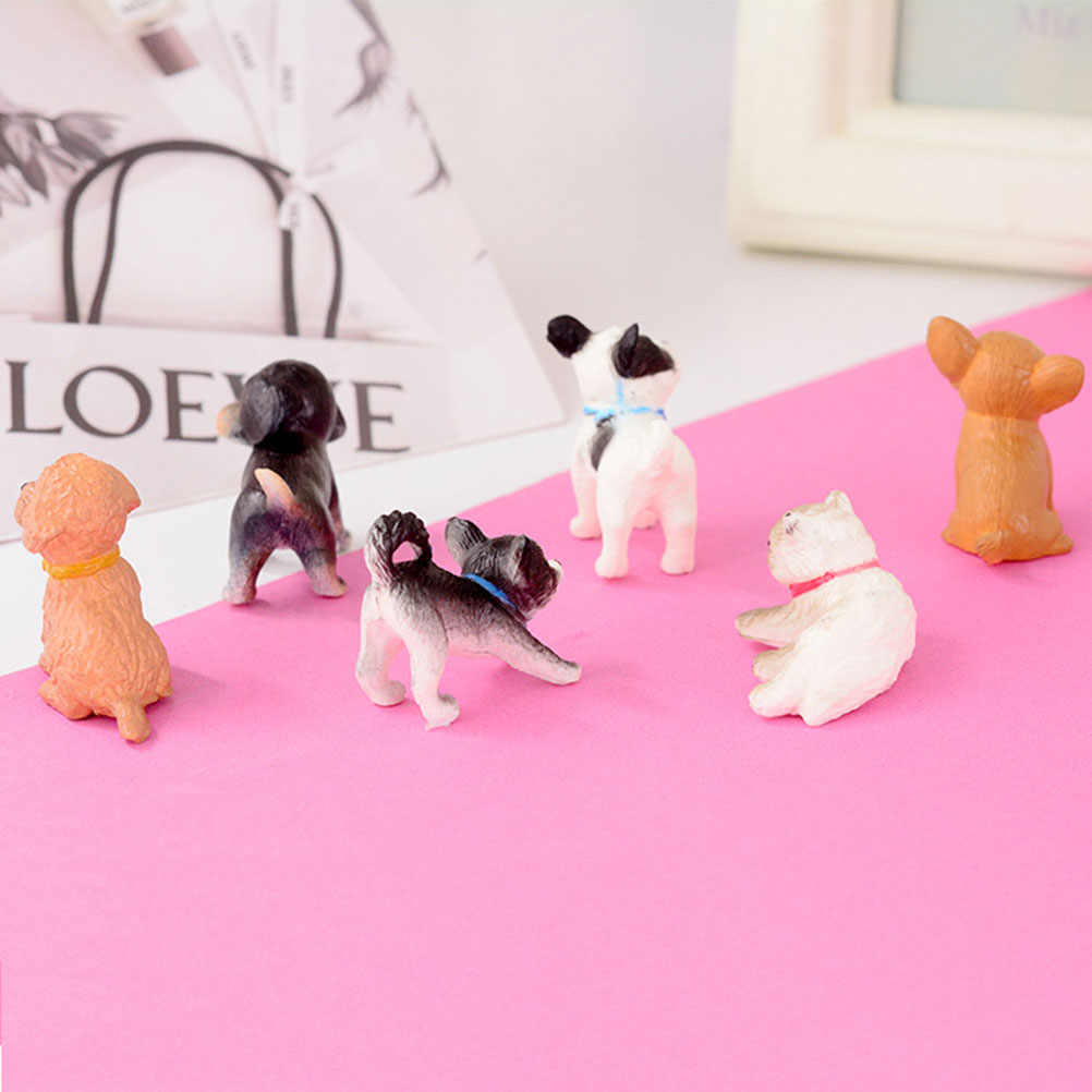 6pcs Mini Cat Dog Figurines Model Pet Doll Simulation Crafts Toy Animals Miniature Cute Ornaments for Home Office Kids Gift