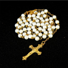 6mm White Pearl Crystal Gold Jesus Christ Cross Pendant Necklace Jewelry Gift