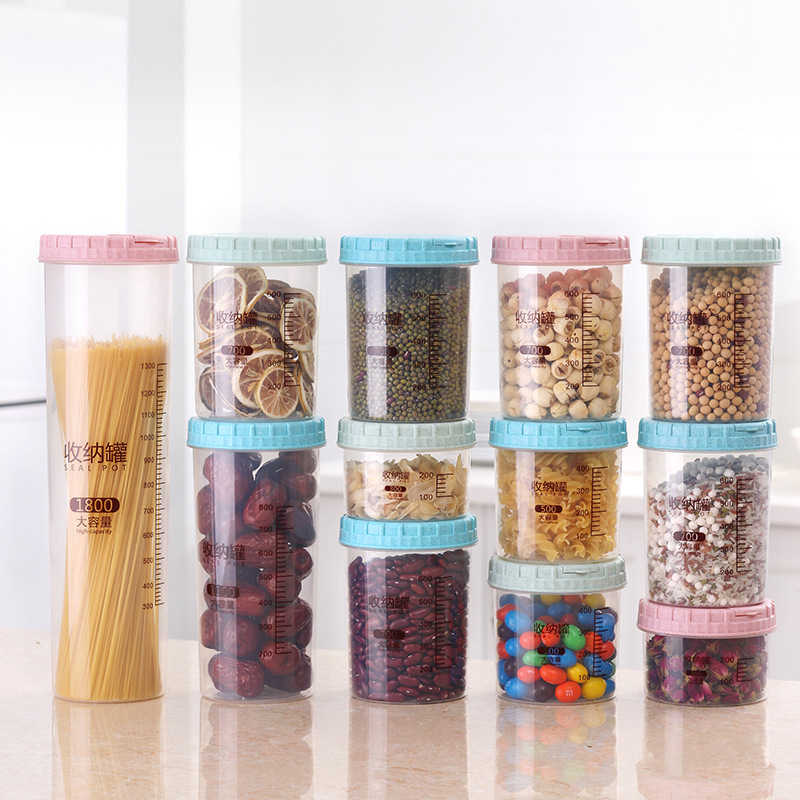 Wheat Stalk Plastic Storage Tank Food Tea Storage Cereals Sealing Case Bottle Mouth and Cap All-In-One 1PC Kitchen Necessities