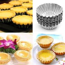 10pcs Nonstick Ripple Aluminum Alloy Egg Tart Mold Flower Shape Reusable Cupcake and Muffin Baking Cup Tartlets Pans(China)