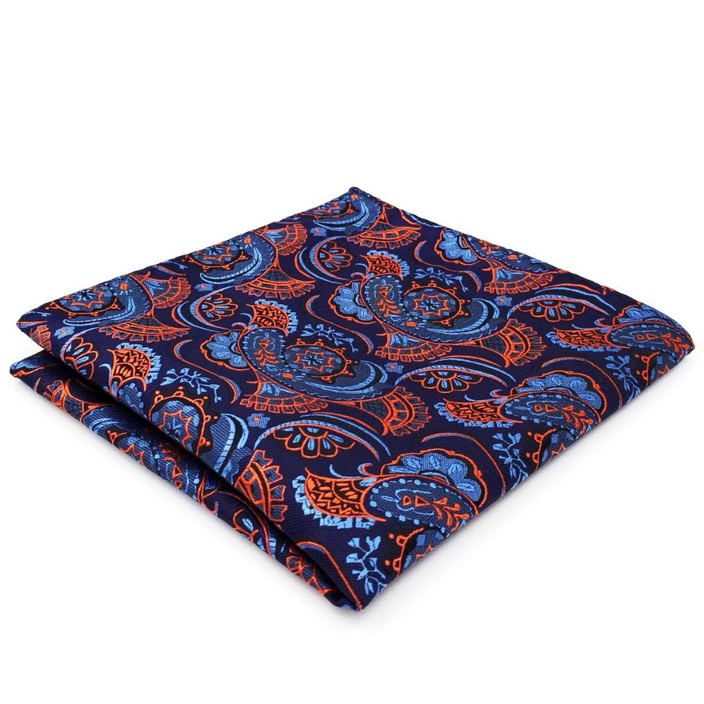 CH13 Mens Pocket Square Navy Orange Abstract Paisley Silk Handkerchiefs Fashion Casual Hanky 12.6