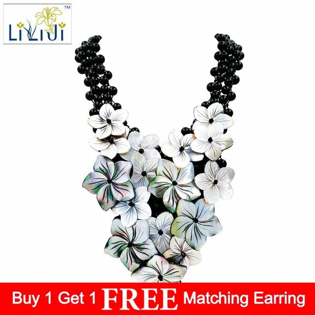 LiiJi Unique Handmade knitting Shining Black Agates/Onyx setting Shell Flowers Statement Necklace Approx 51cm