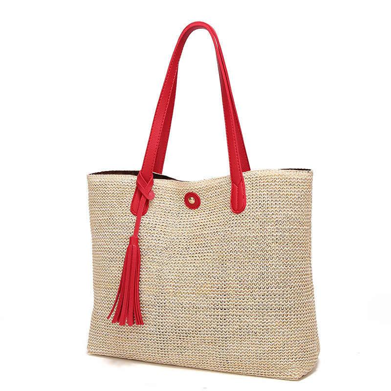 5f7d8c059b34 ... 2018 новый узор ткань Женская мода вязаный крючком соломы плеча сумки  летняя сумка женская корзина нейтральный