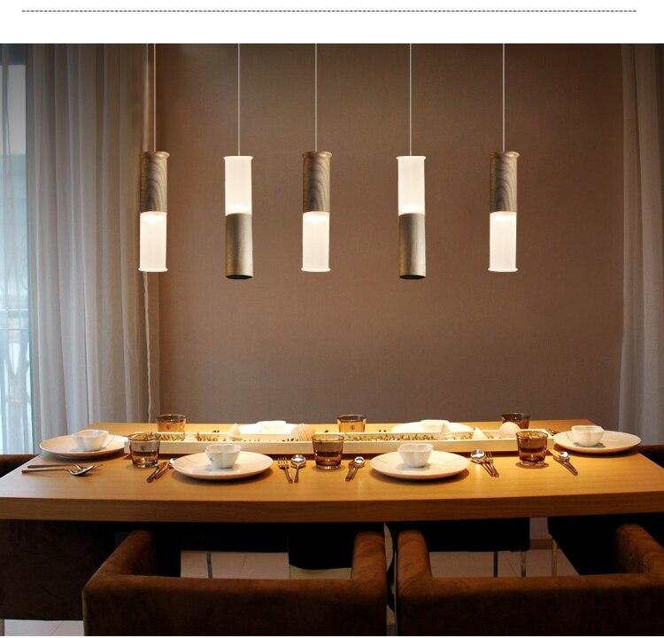Loft Wood Creative Simple Pendant light Modern Fashion Lamps For Dining Room Restaurant Bedroom Living Room Shape LED