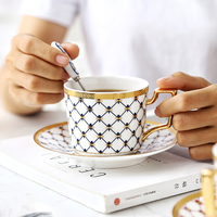 European coffee cup and saucer British Phnom Penh Ceramic Coffee Cup Set Household simple afternoon tea cup with spoon