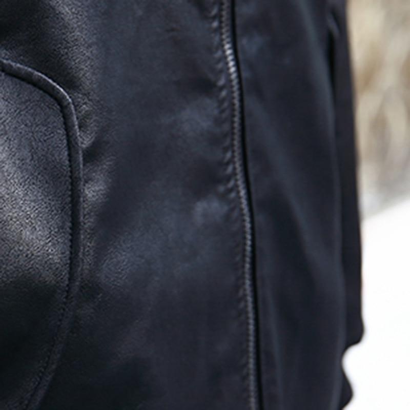 Fermeture Montant Femme Spliced 2019 Longues eam Col Poches Manches À Lâche Black En Pièce Éclair Faux Plaid Hiver Printemps Cuir 2 Le384 Manteau Noir qFzznSvW