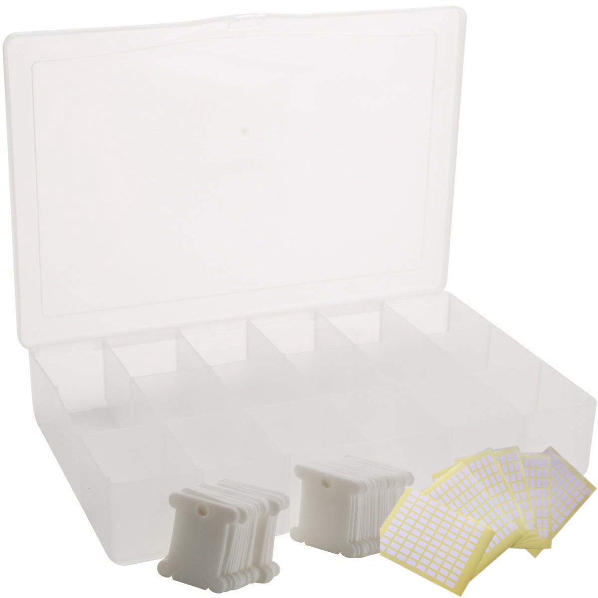 Embroidery Floss Organizer Box - 17 Compartments With 100 Hard Plastic Floss Bobbins And 480 Floss Number Stickers. (Full Set)