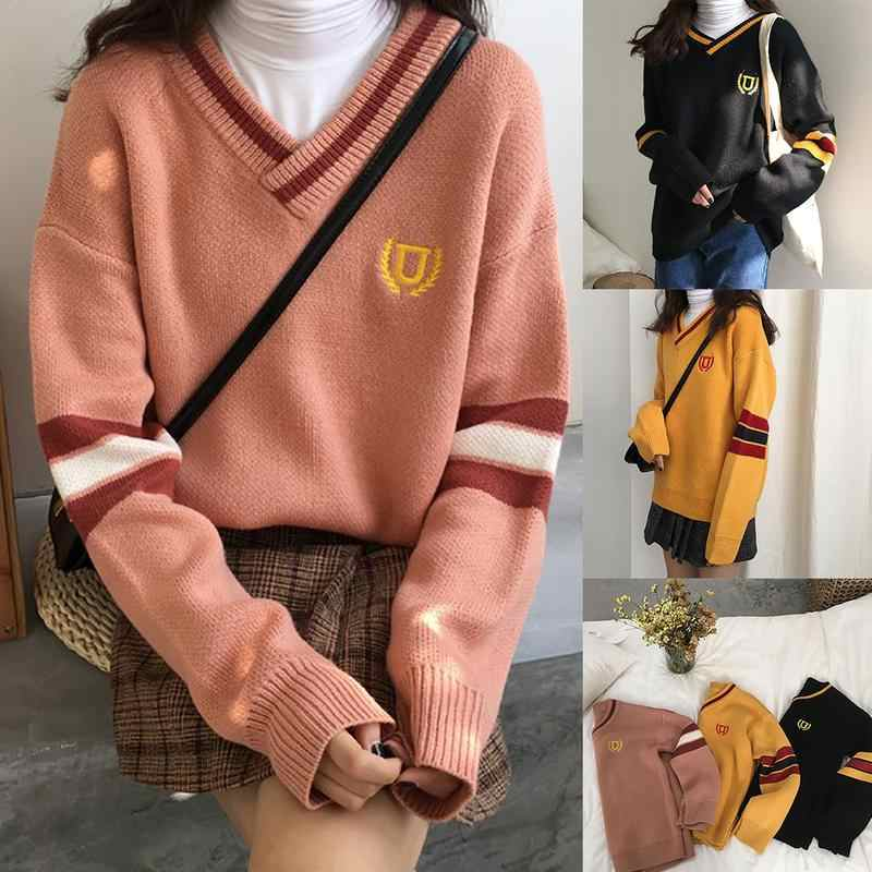 23ea641caa Women High Quality Retro College Thick Knit Sweater Contrast V Neck Couple  Loose Embroidery Sweatsuit