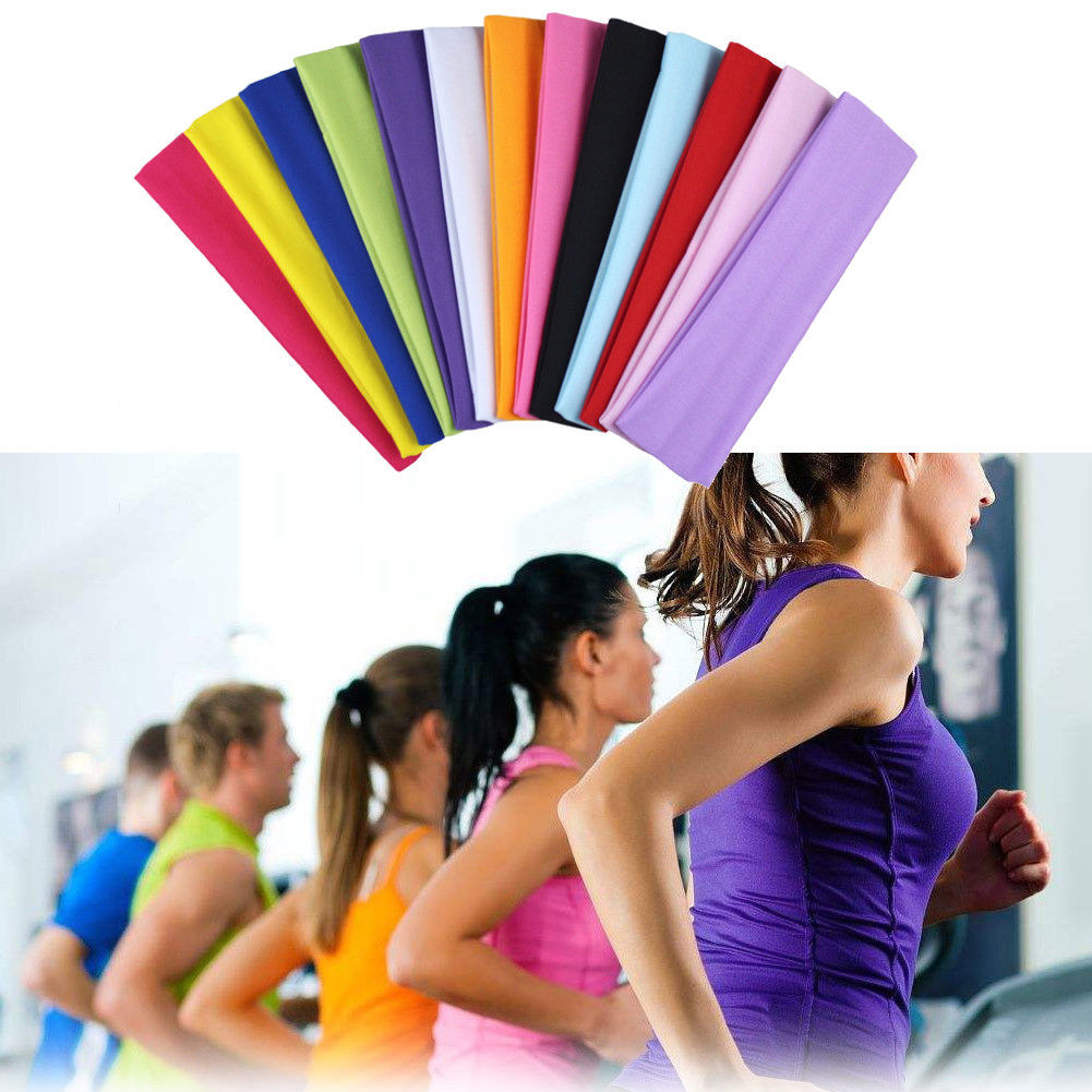 Hirigin Women Headband Sport Yoga Hair Bands 2019 New Stretch  Elastic Hair Band Turban Dance Girls Women Headwear 13 Color Hot