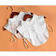 Women False Collar Lace portable ventilate Detachable Neckline Choker Fake Bib Half Shirt White