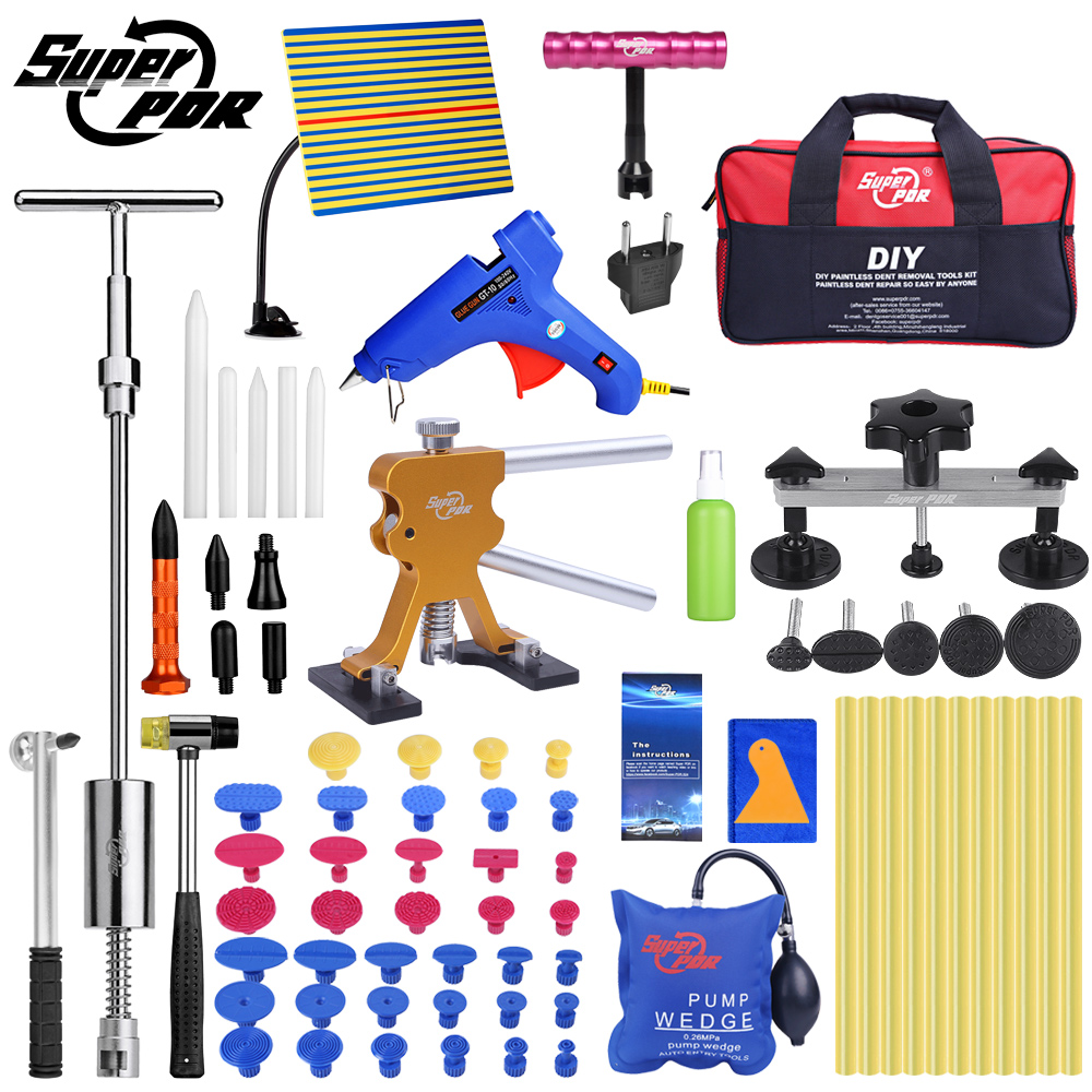 Super-PDR Strumenti di Kit Per Auto Paintless Dent Repair Tool Grandine Dent Rimozione Kit auto dent estrattori tazza di aspirazione dent tirando ponte