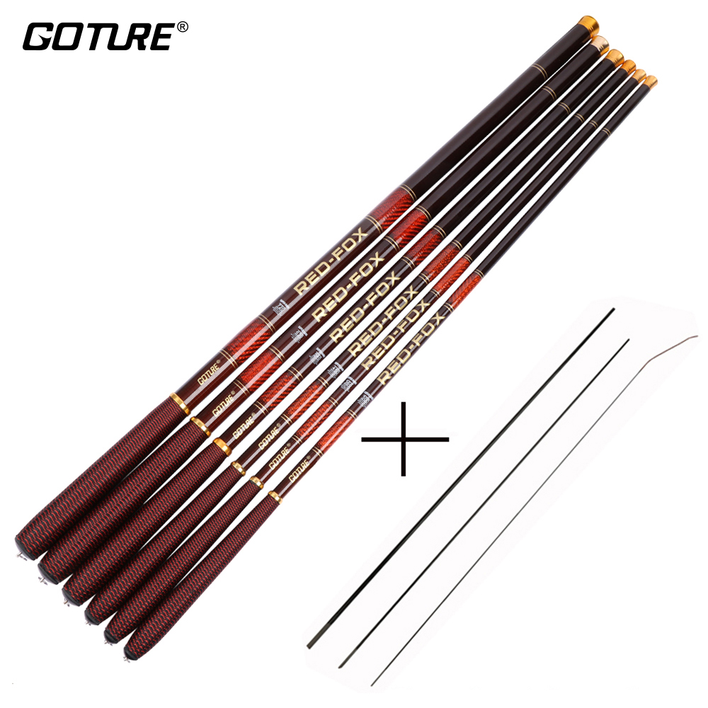 Goture Carbon Fiber Telescopic Fiske Rod Ultra-Light Stream Hand Pole Carp Matare Fishing Pole 3..0-7.2m vara de pesca