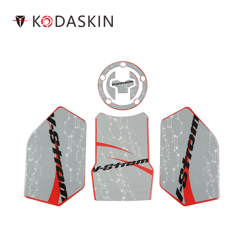 KODASKIN 3D Printing Gas Cap Tank Traction Pad Knee Fuel Side Grip For DL250 V-Strom Gray&ampRed