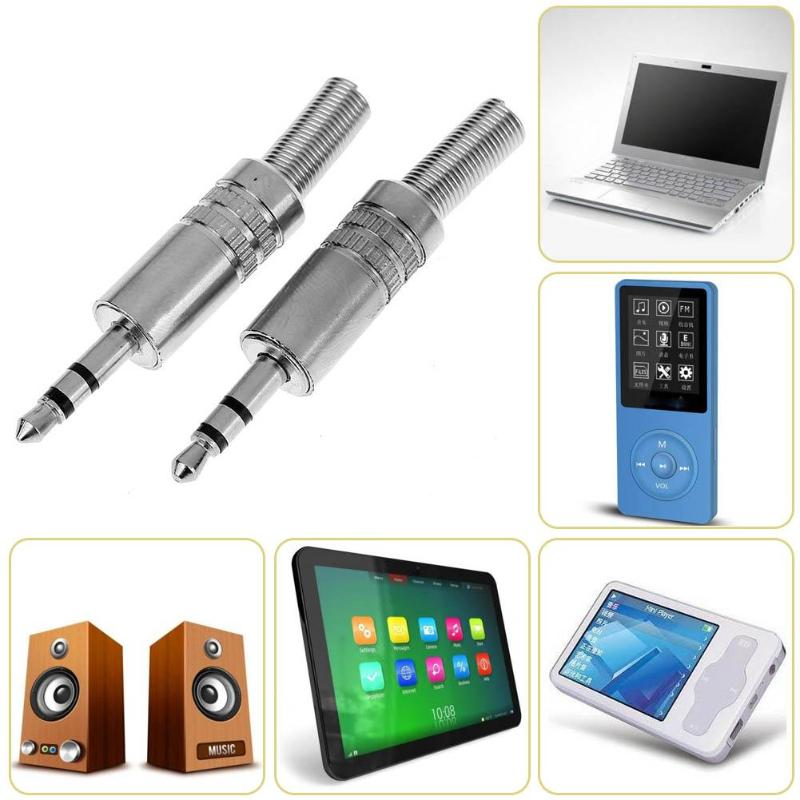 3.5mm 1/8in Stereo Male Audio TRS Plated Jack Plug Adapter Connectors For Computers Tablets Laptops  Mobile Phone Headsets 2Pcs
