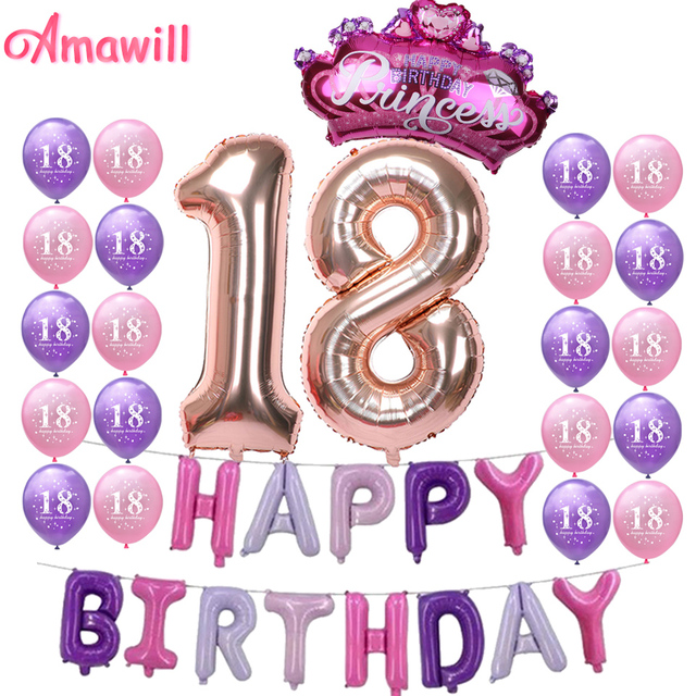 Amawill Pink Happy Birthday Letter Balloons Rose Gold 18 Balloon Princess Crown Globos 18th Party
