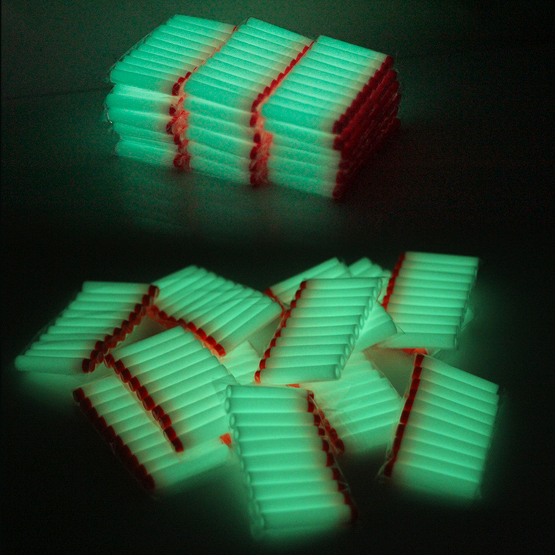 10 Pcs/pack White Luminous For Nerf Bullets Soft Hollow Hole Head 7.2cm Refill Darts Toy Gun Bullets Toys For Children