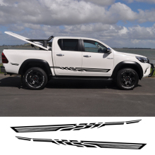 2PC free shipping hilux racing side stripe graphic Vinyl sticker for TOYOTA HILUX First Impressions