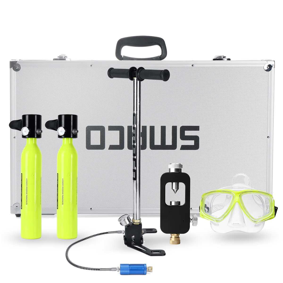 Système de plongée 6 en 1 Mini bouteille de plongée sous-marine réserve d'oxygène pompe à réservoir d'air boîte en aluminium équipement de plongée en apnée