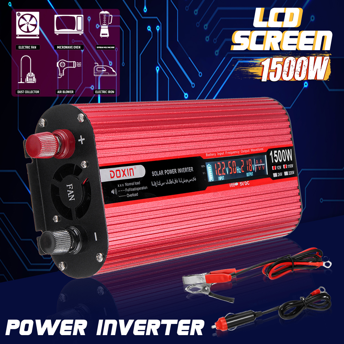 Solar Inverter 12V 220V 1500W P eak Voltage Transformer Converter DC 12V To AC 220V Car Inverter + Car Cigarette Lighter Charger new acehe 1500w car dc 12v to ac 220v overload protection reverse polarity protection power inverter charger converter