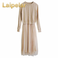 Laipelar Autumn Winter Patchwork Dress Fashion Women O neck Slim Long Sleeve Knitting Mesh Casual Dress Ladies Tulle Dresses