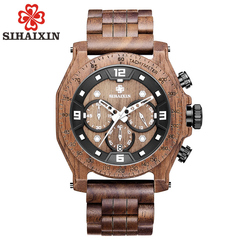 SIHAIXIN Unique hommes montres 2018 de luxe marque bois montre étanche Quartz Sport chronographe en bois homme horloge montre homme cadeau