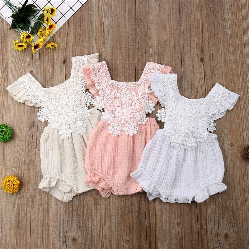 0-18M Newborn Baby Girls Lace Floral Bodysuit Jumpsuit Playsuit Sunsuit  Sleeveless Cute Party Clothes Outfits
