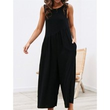 New Fashion Women Backless Cotton Linen Long Rompers Female Summer Solid High Waist Thin Loose Jumpsuit