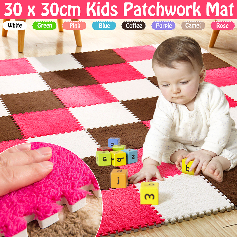 6pcs Living Room Bedroom Children Kids Soft Carpet Magic Patchwork Jigsaw Splice Heads Climbing Baby Mat 30*30cm