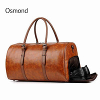 Men Women Outdoor Gym Duffel Bag PU Leather Travel Bag Weekender Overnight Luggage Handbag Tote With Fitness Shoe Compartment