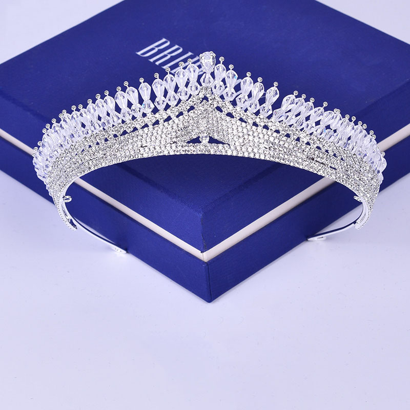 Fashion Korean Rhinestone Tiara Bridal Wedding Headband Hair Jewelry Princess Crown Women Evening Banquet Headdress Handmade