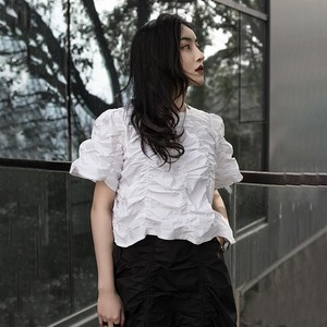 Image 5 - CHICEVER Summer Vintage Irregular Draped Solid Women T shirt O Neck Short Sleeve Loose Slim Female Top Clothing 2020 Korean New