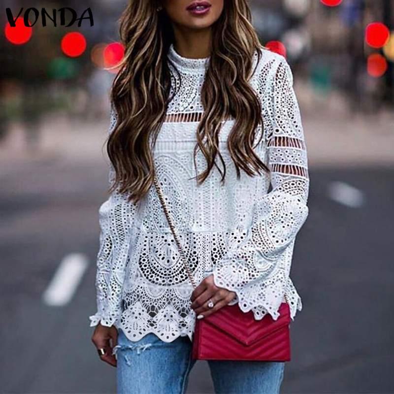 2019 VONDA Casual Women Sexy Lace Tunic Hollow Tops Tee Blouse Long Sleeve Irregular Hem Patry Blusas  Beach Ladies Shirt