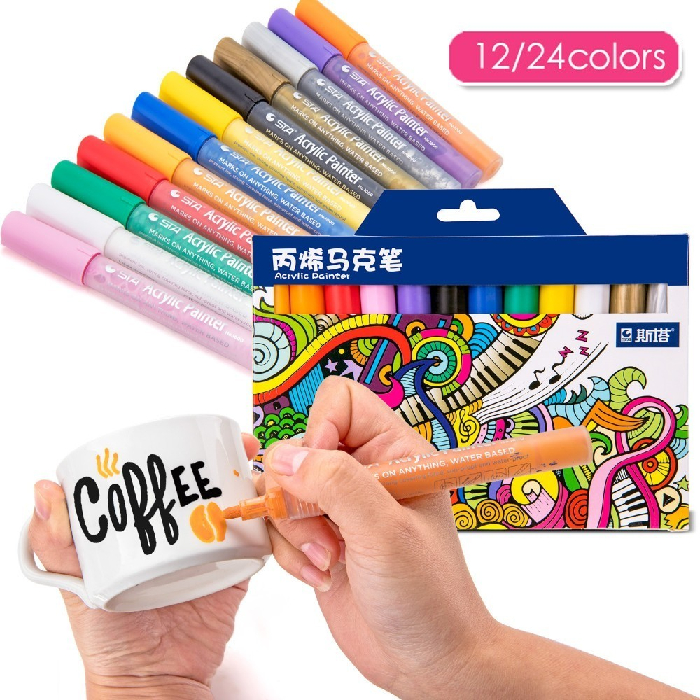 Sta 12/24 Colors/set Acrylic Permanent Painting Marker Pen For Ceramic Rock Glass Porcelain Mug Wood Fabric Canvas Art Drawing