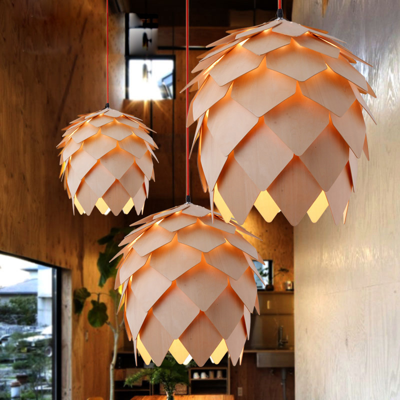 lowest price Retro Nordic Pinecone Led Pendant Lamps Modern Wooden modern DIY IQ Elements Puzzle Bedroom Art Wood Lamparas Light Fixtures