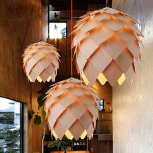 Image 4 - Retro Nordic Pinecone Led Pendant Lamps Modern Wooden modern DIY IQ Elements Puzzle Bedroom Art Wood Lamparas Light Fixtures