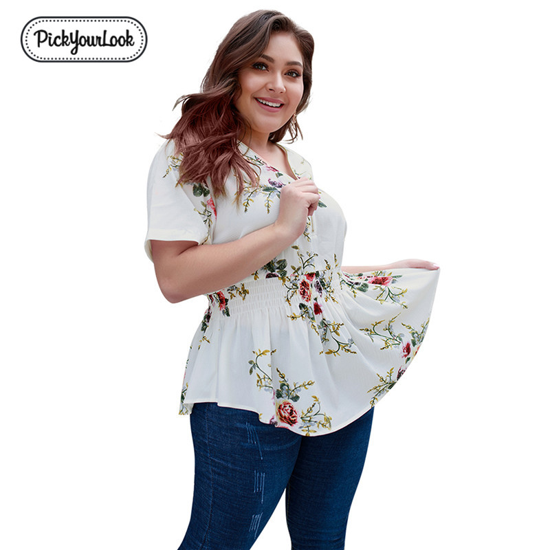 PickyourLook Femme Zip Deep V Neck Sexy Floral Blouse Women Bohemia Casual Ruffle Hem Shirts Printed Flower Short Sleeves Blouse