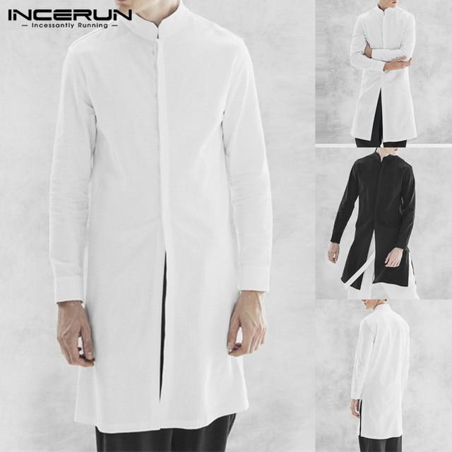 INCERUN Men Shirt Cotton Long Sleeve Stand Collar Casual Tops Indian Kurta  Suit Streetwear Vintage Long Shirt Men Plus Size 5XL dc2bdda103ff