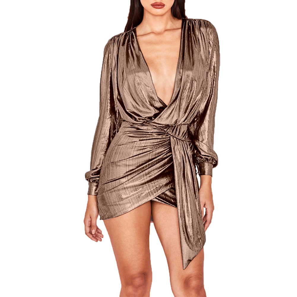 Women Sexy Gilding Deep V Long Sleeve Pleated Drape Irregular Bodycon Mini Dress in Dresses from Women 39 s Clothing