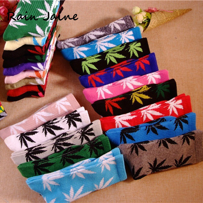 Harajuku Funny Dress Socks For Men Comfortable High Quality Cotton Happy Marijuana Leaf Maple Casual Long Weed Crew Sock Hip Hop image