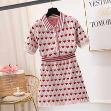 Women Single-Breasted Bright Silk Heart Jacquard Knit 2 Piece Set Short Sleeve Sweater+A-Line Skirts Sets Knitting Clothing Suit