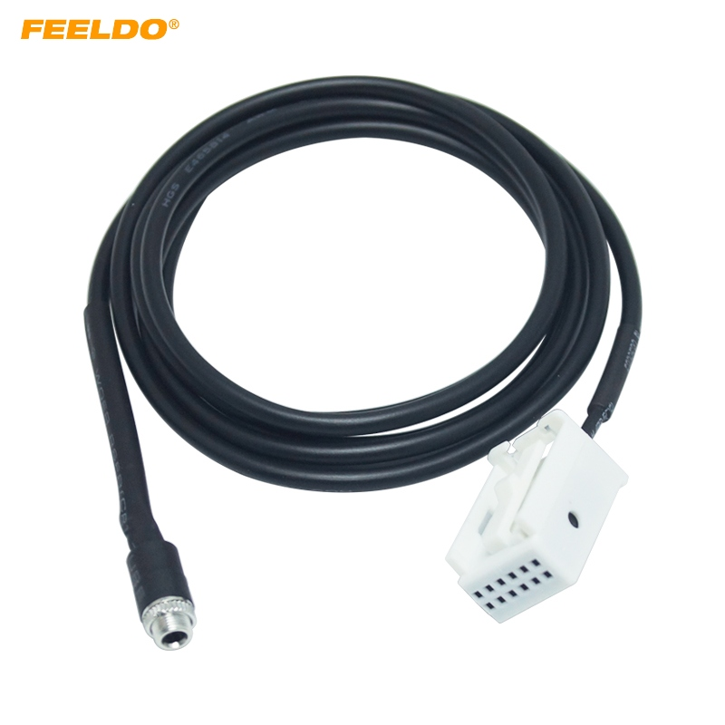 FEELDO 10Pcs Car Radio Audio MP3 RCD510+ RCD310+ AUX IN Adapter Cable for VW Passat B6 Golf Polo 12 Pin Port AUX Wire Cable