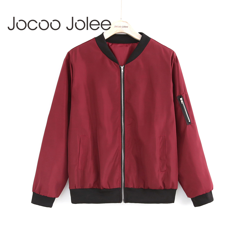 Jocoo Jolee Fashion Bomber Jacket Women Long Sleeve Basic Coats Casual Windbreaker Thin Slim Outerwear Short Jackets 2018|bomber jacket women|fashion bomber jacket womenfashion jacket women - AliExpress
