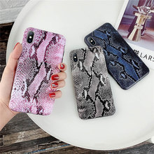 Ottwn Luxury Snake Skin Leather Phone Case For iPhone 7 6 6s 8 Plus X XR XS Max Crocodile Texture Cases Soft IMD Back Cover 2019