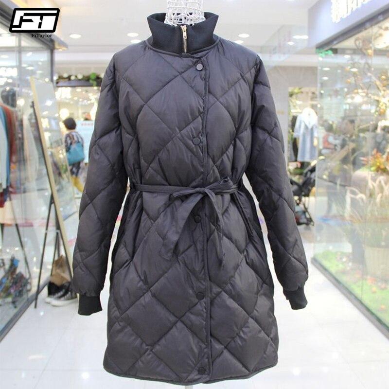 Fitaylor Winter Jacket Women Ultra Light 90 White Duck Down Parkas Female Turtleneck Collar With Belt