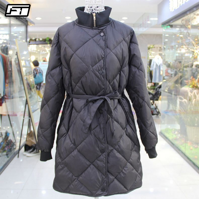Fitaylor Winter Jacket Women Ultra Light 90% White Duck Down Parkas Female Turtleneck Collar With Belt Slim Long Jacket Coats