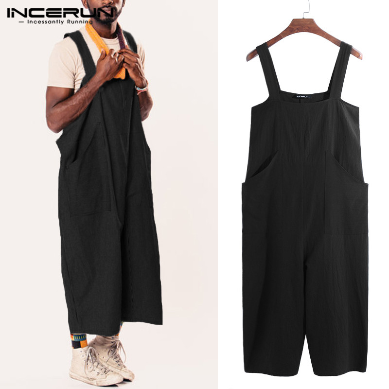INCERUN Fashion Mens Jumpsuit Wide Leg Straps Rompers Solid Color Loose Men Casual Pants Overalls Suspenders Streetwear 2020 5XL