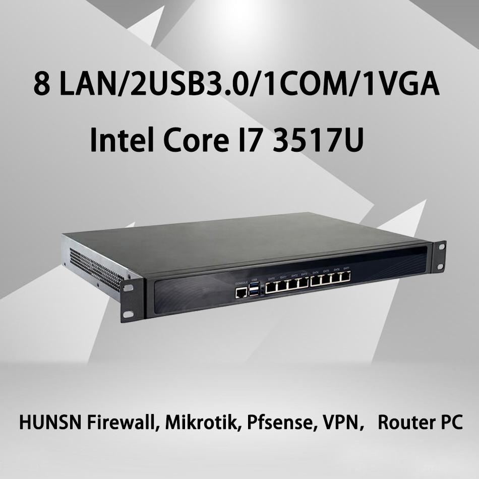 Firewall Mikrotik Pfsense VPN Network Security Appliance Router PC Intel Core I7 3517U,[HUNSN SA15R],(8Lan/2USB3.0/1COM/1VGA)